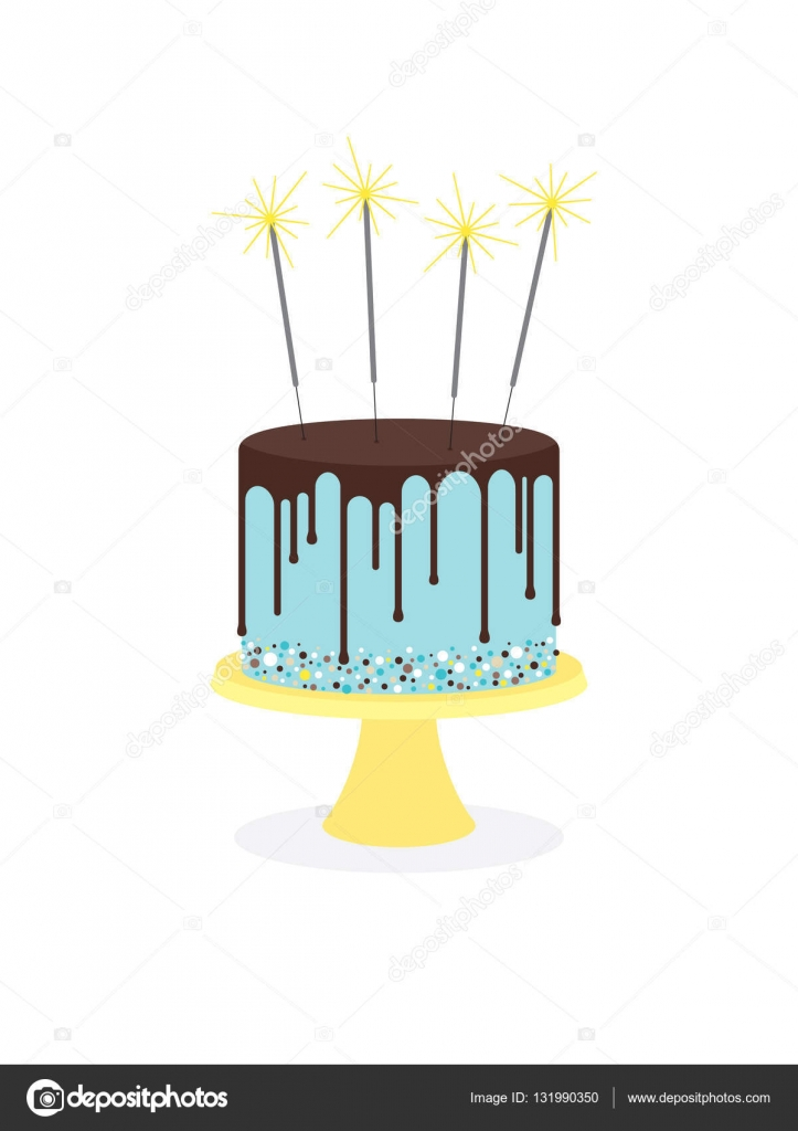 Birthday Cake With Frosting And Sparklers Stock Vector Moibalkon