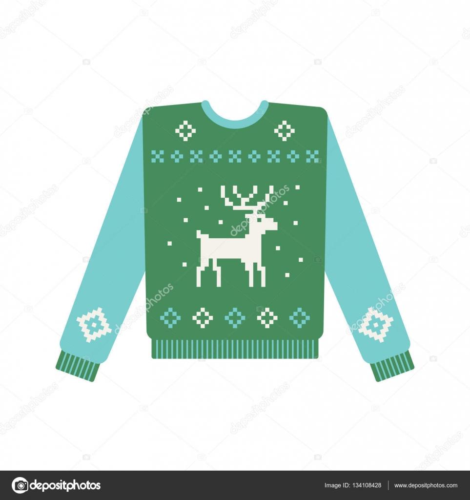 Hässliche Weihnachts Pullover mit Hirsch-Muster — Stockvektor ...