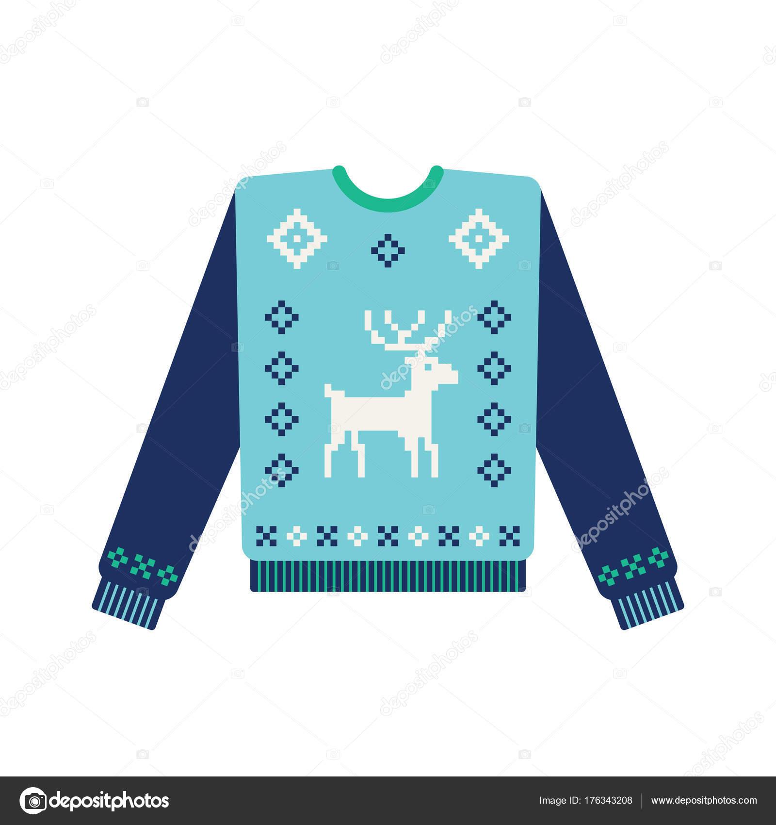 Hässliche Weihnachts Pullover mit gestrickten Hirsch — Stockvektor ...