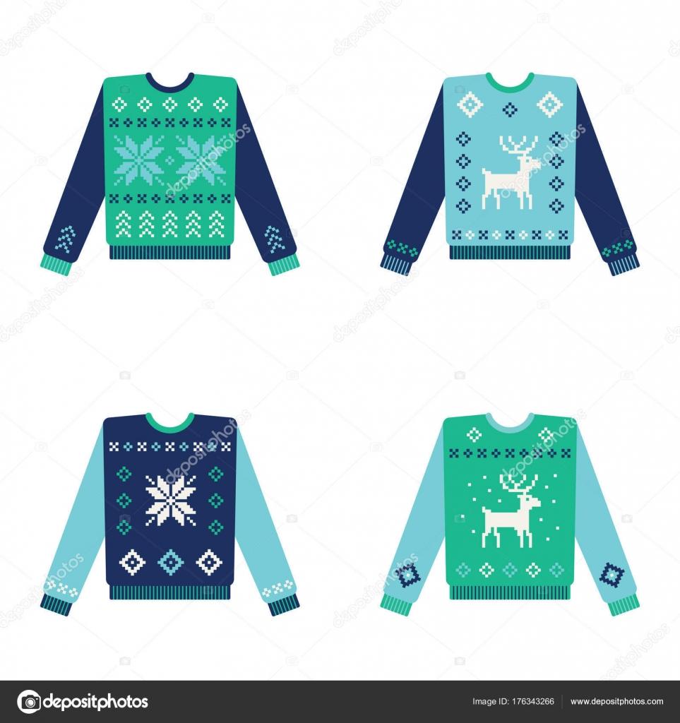 Conjunto de feos suéteres de Navidad con copos de nieve — Archivo ...