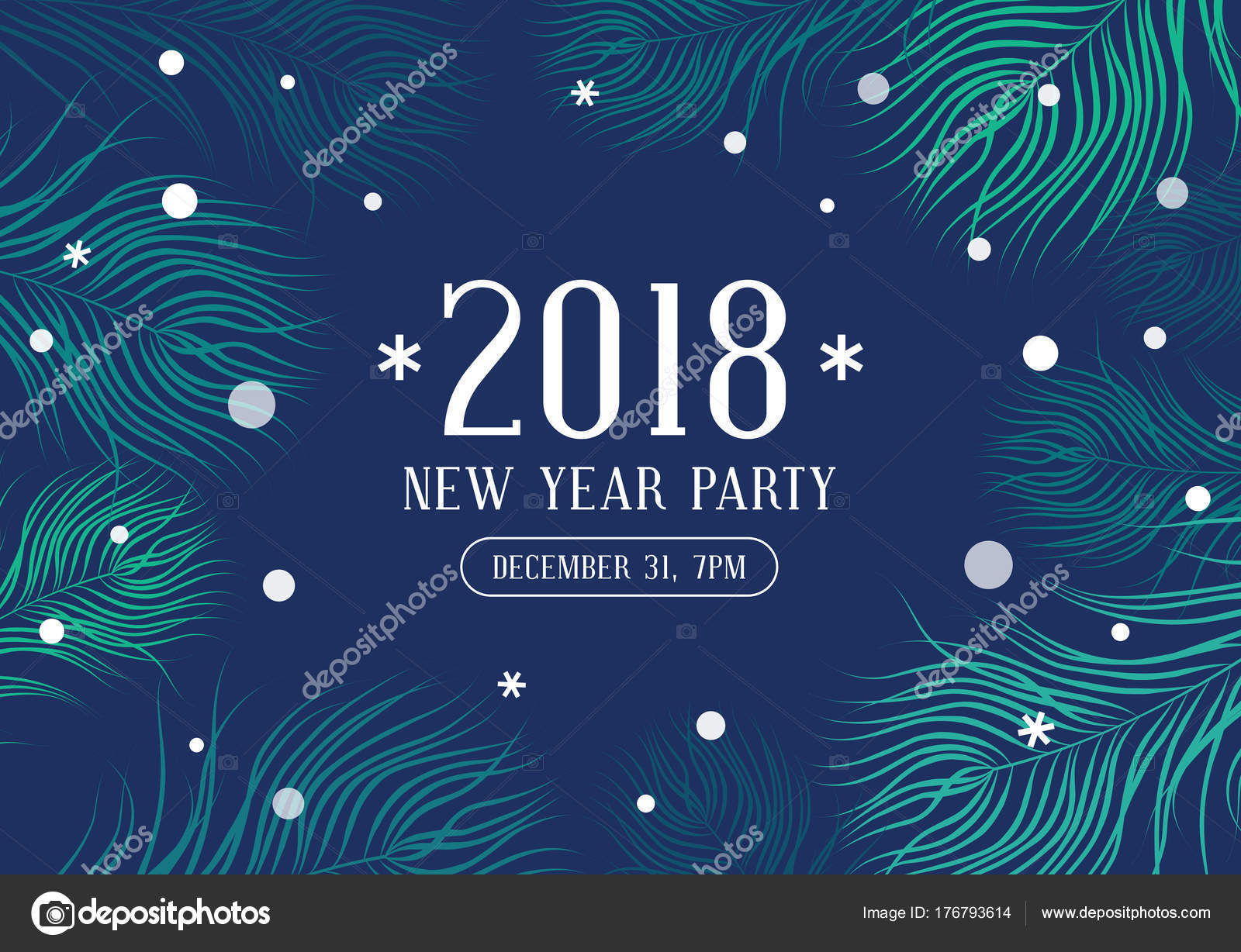 happy new year 2018 party invitation stock vector