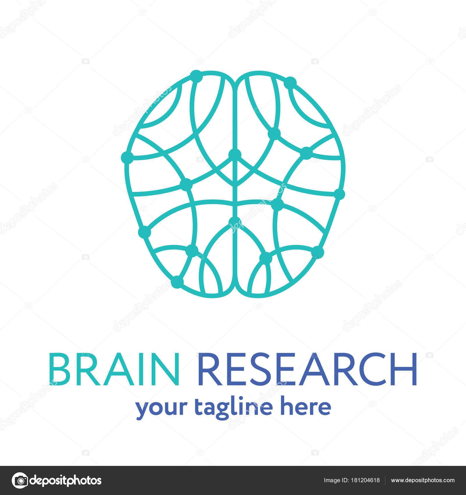 Cerebro Humano Línea Icono Logo Plantilla Concepto Investigación ...