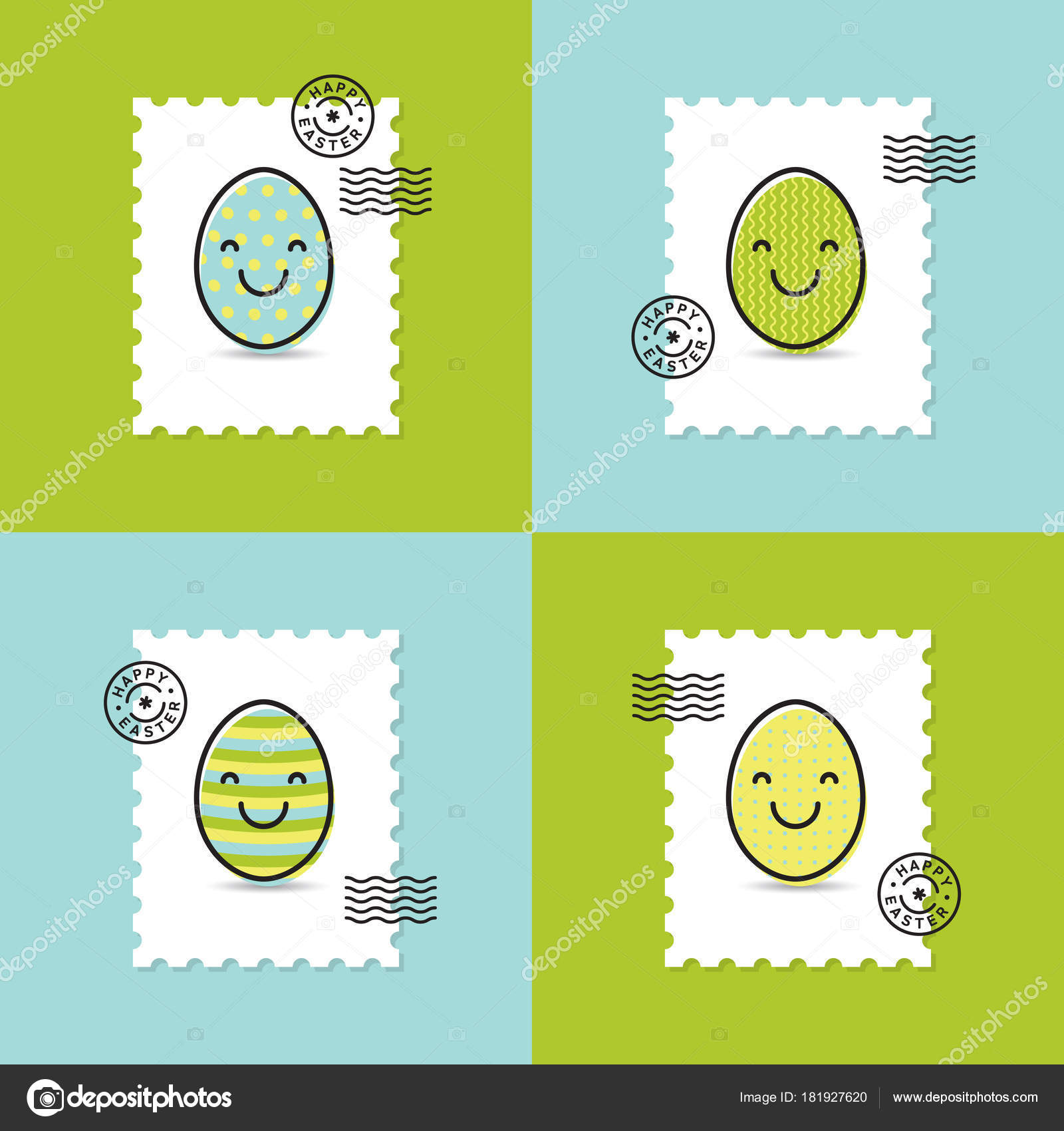 Set Postage Stamp Easter Painted Egg Smiley Happy Easter Greeting