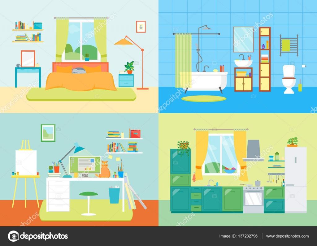 Dibujos animados cuarto b sico interior de casa vector de for Dormitorio animado