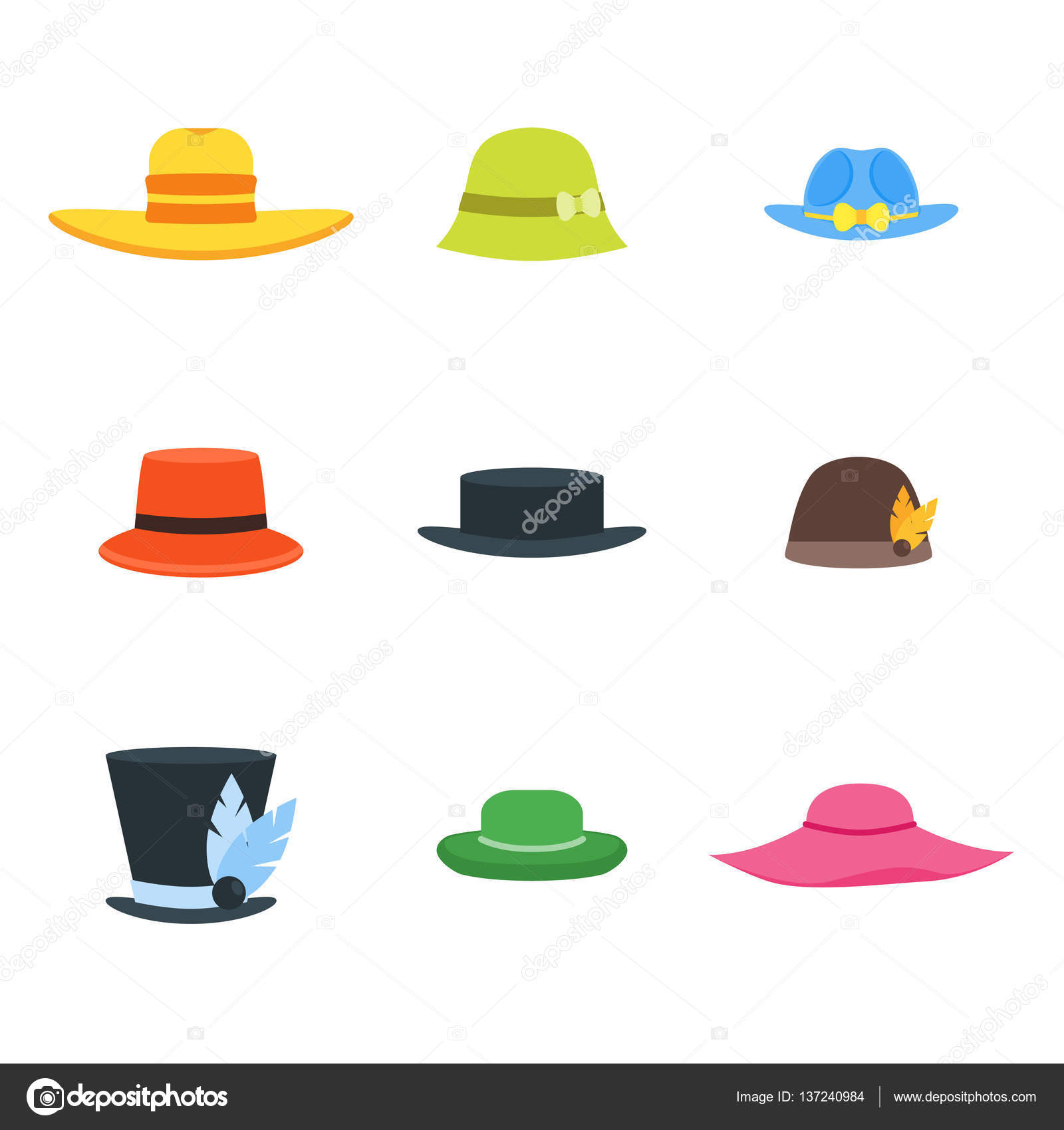 14fc930bac0e9 Cartoon Color Hats Set Fashion for Men and Women Style Accessory Head Flat  Design Style. Vector illustration — Vector by ...