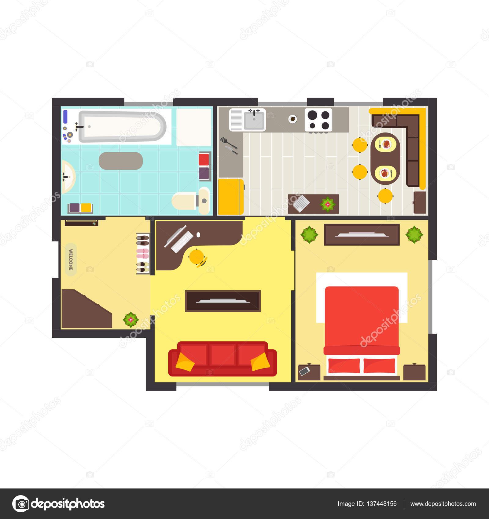 Planimetria appartamento con mobili vista dall 39 alto for Planimetria appartamento