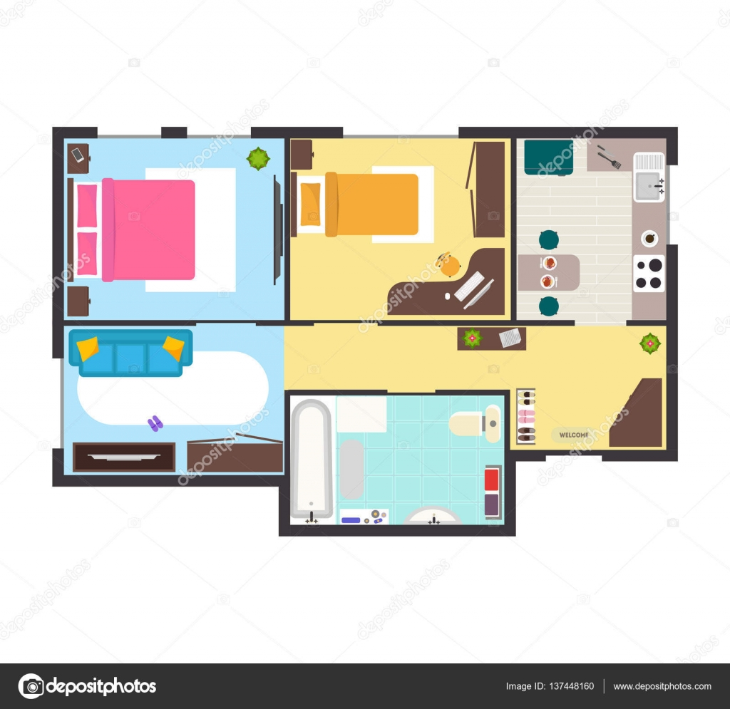 apartment floor plan with furniture top view vector stock apartment floor plan with furniture top view detailed scheme living building flat design style vector illustration vector by bigmouse