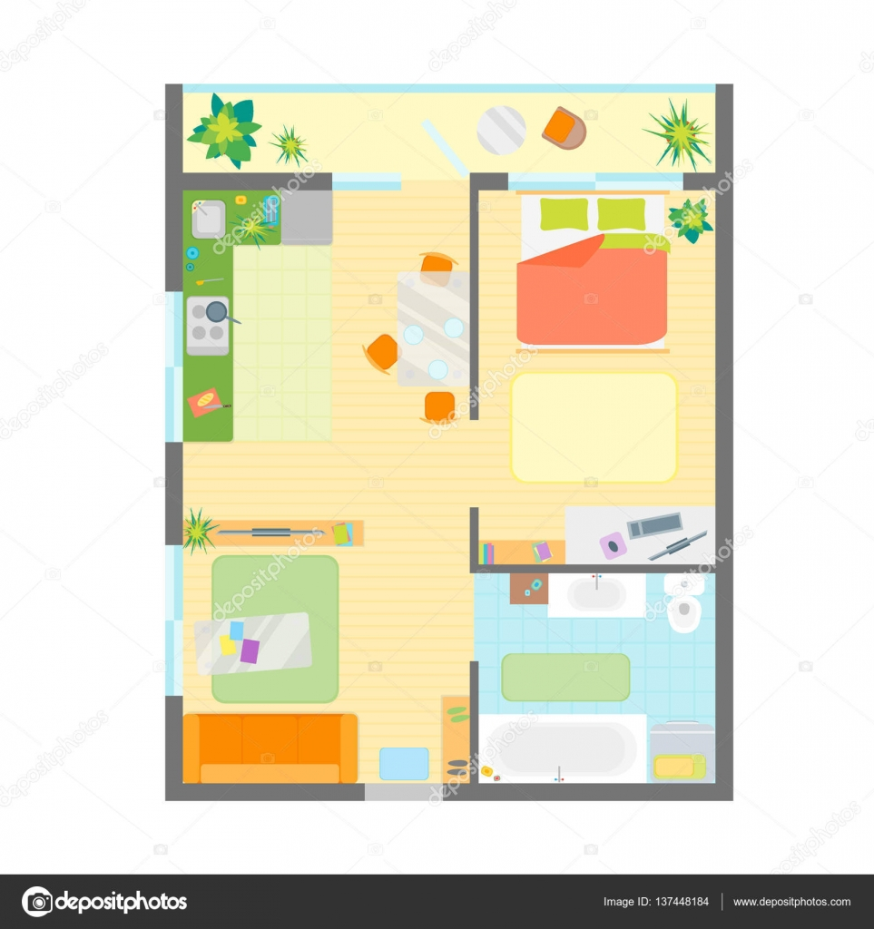 Apartment Floor Plan with Furniture Top View. Vector — Stock ... for Modern Furniture Top View  45ifm