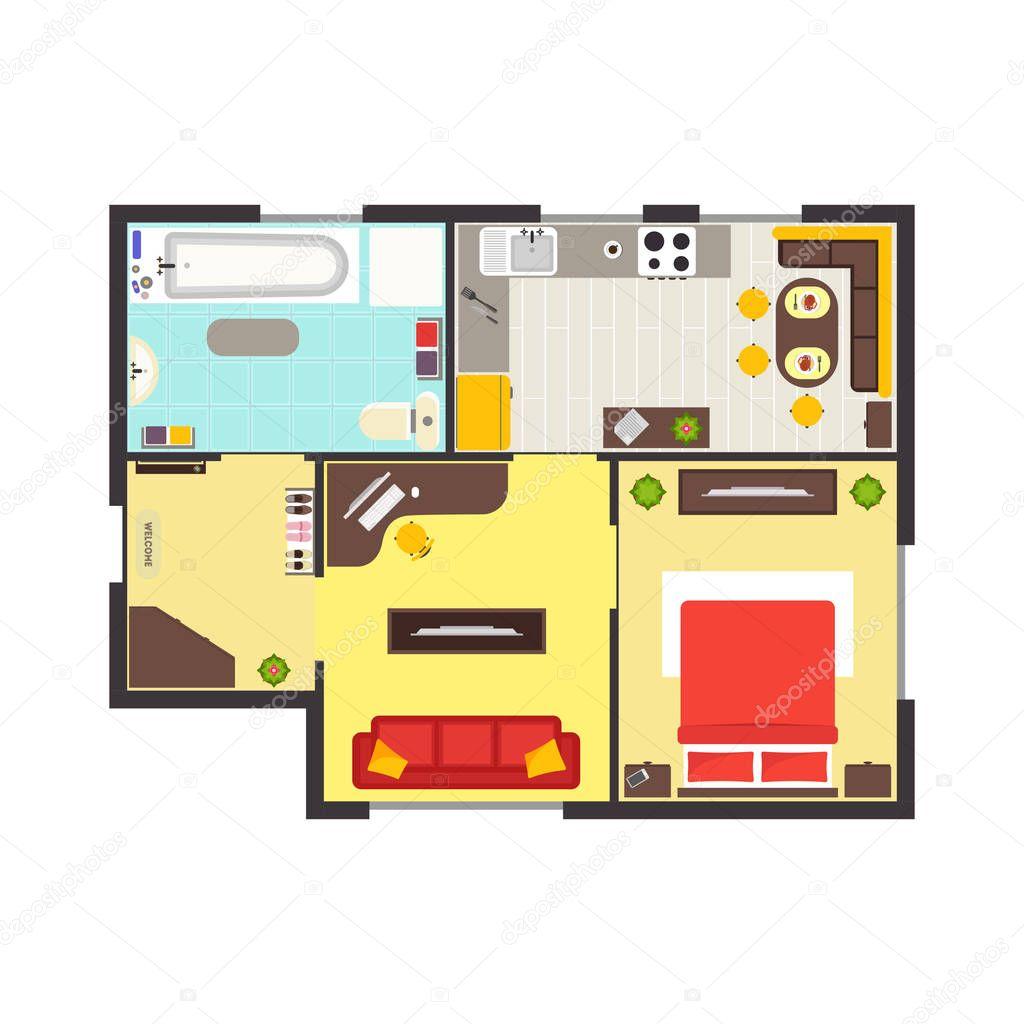 Planimetria appartamento con mobili vista dall 39 alto for Programma architettura gratis
