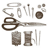 Sewing Set Hand Draw Sketch. Vector