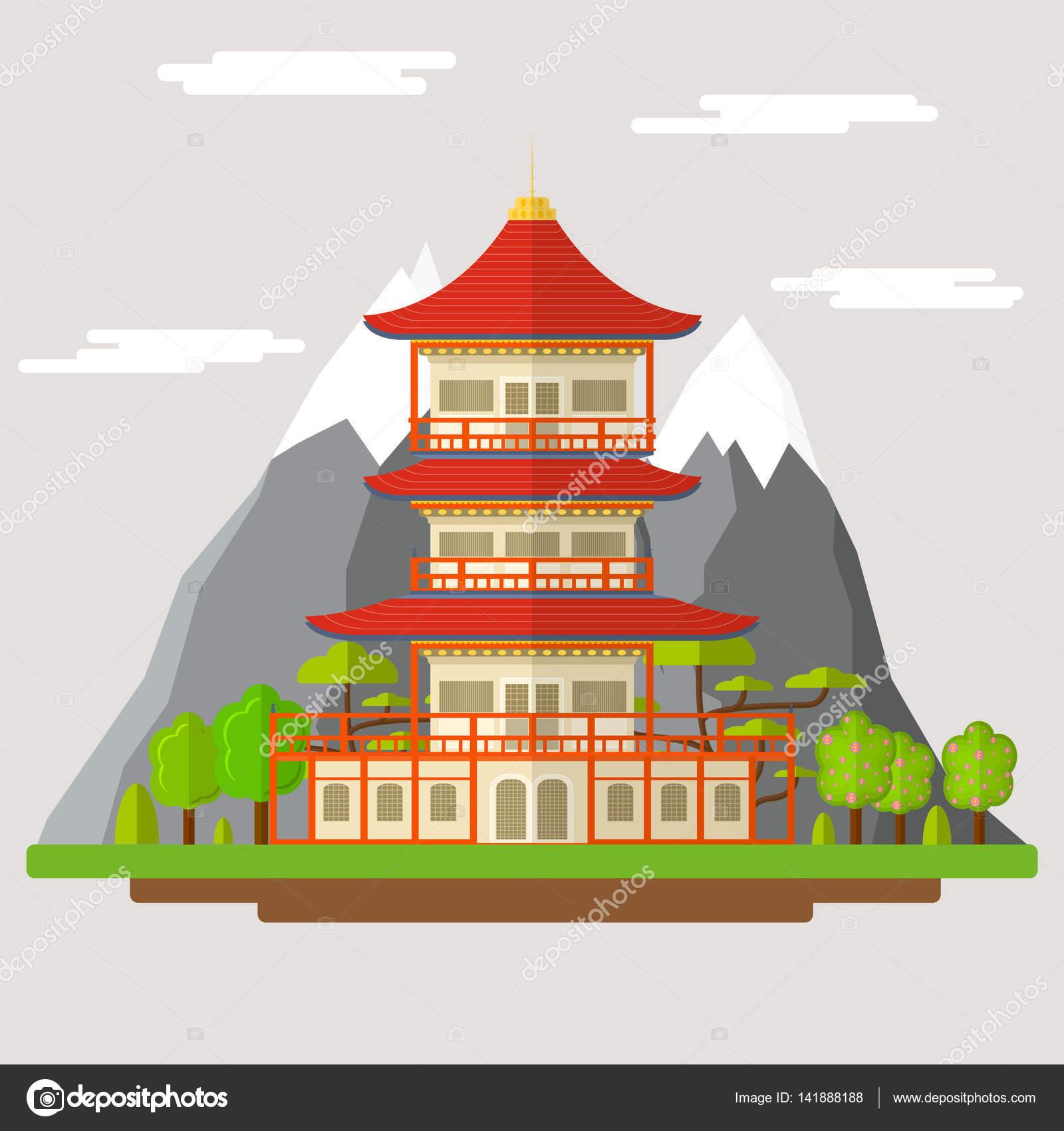 templo de desenho animado japonês vector vetor de stock