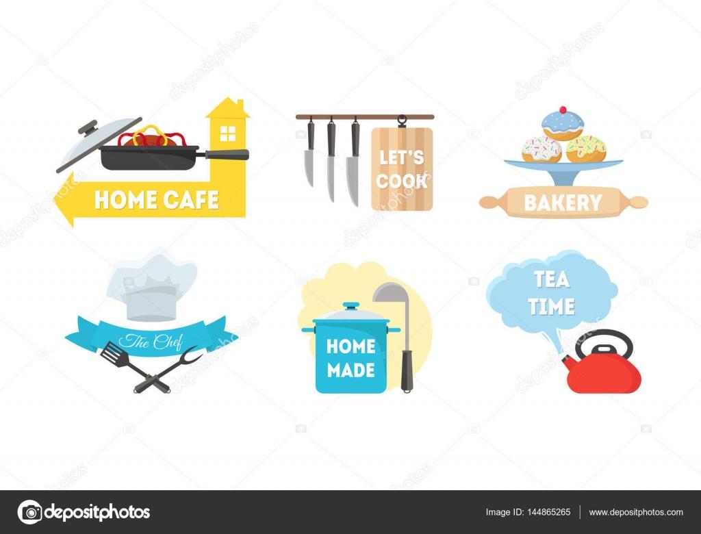 Cartoon-Küche-Etiketten-Satz. Vektor — Stockvektor © bigmouse #144865265