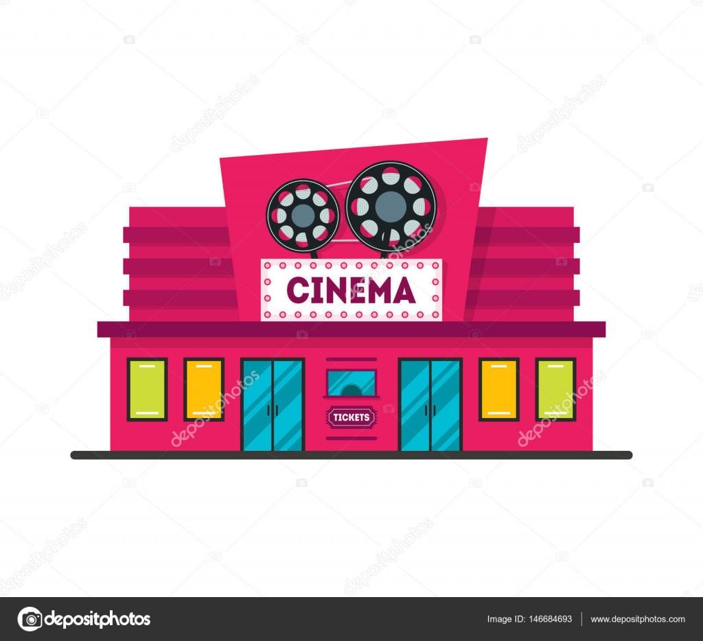 Edificio del cine de dibujos animados. Vector de — Vector ...