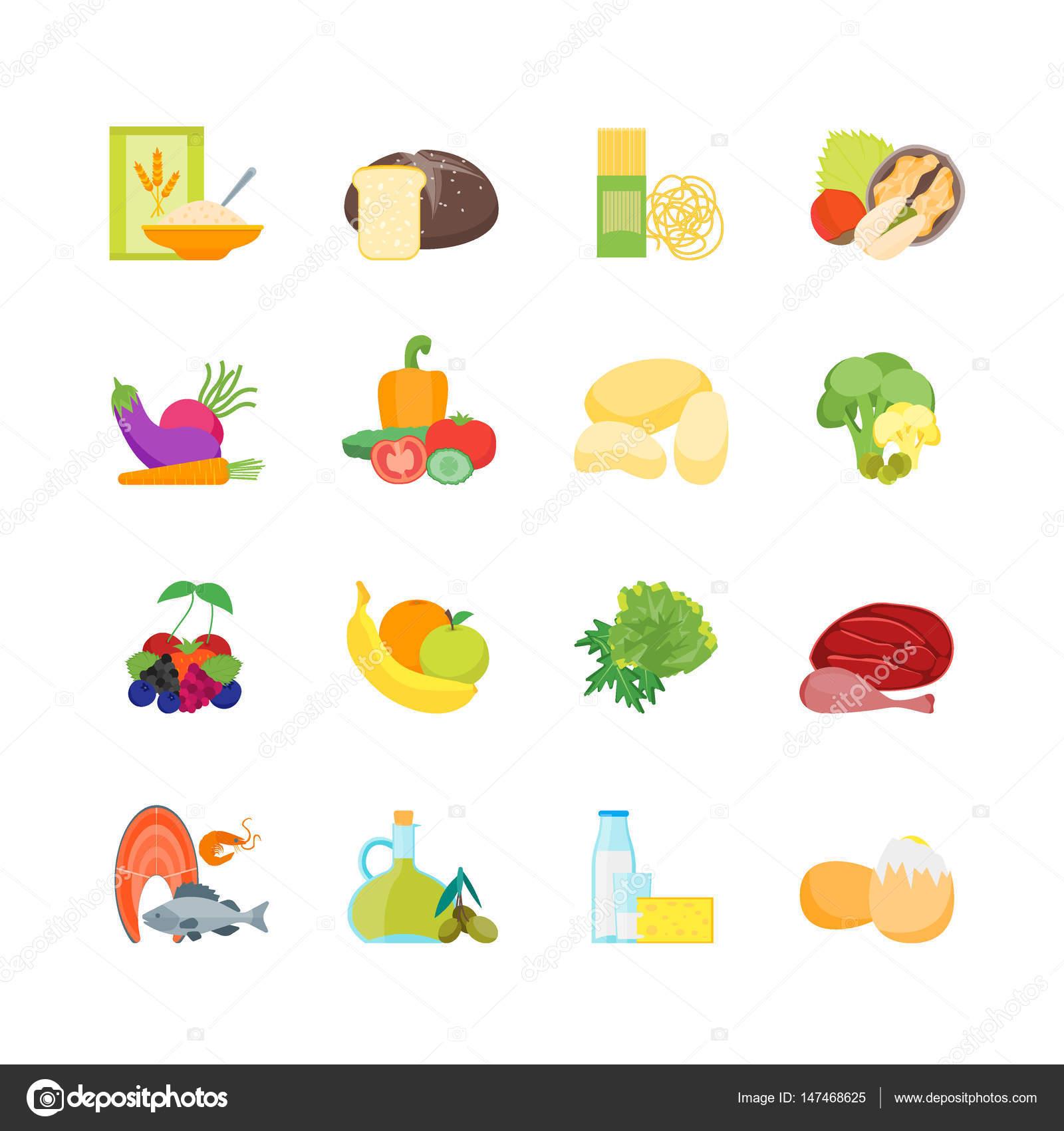 Images Healthy Food Cartoon Cartoon Color Healthy Food Set