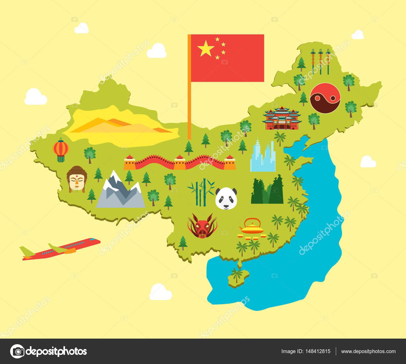 Cartoon-Reisen-China-Tourismus-Konzept. Vr — Stockvr ... on