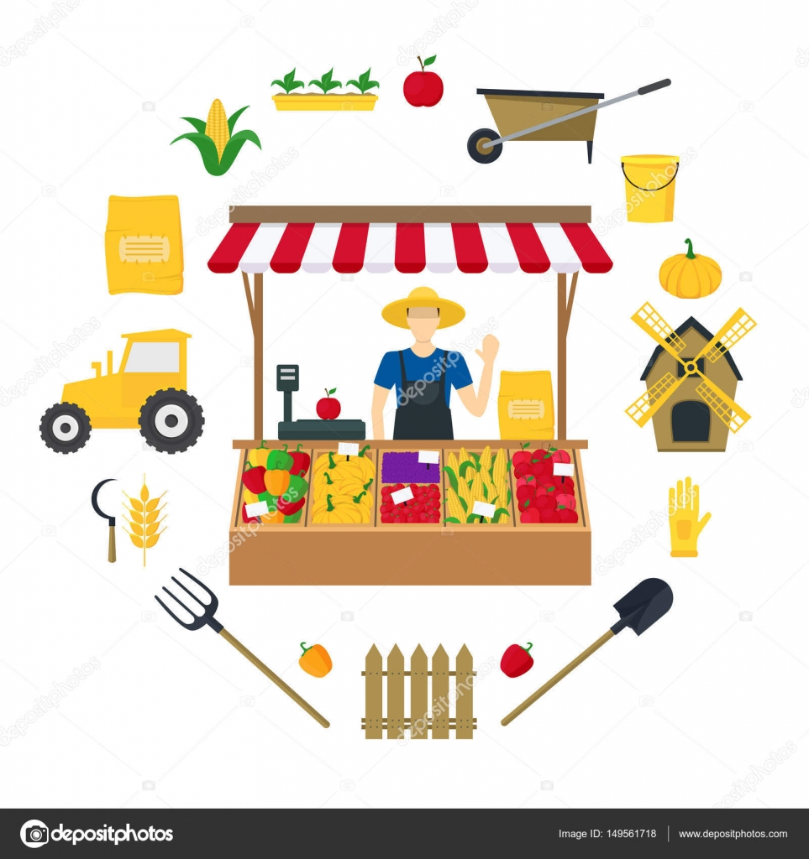 Bruja de granjero vegetal vendedor conjunto de iconos de colores ...