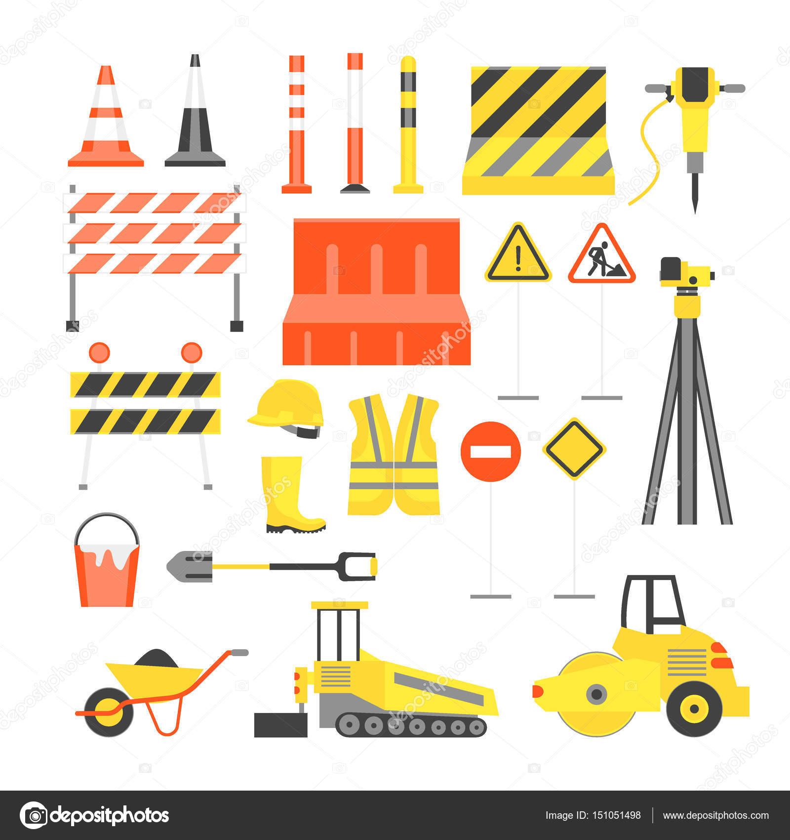 Dibujos animados camino construcción Color iconos conjunto. Vector ...