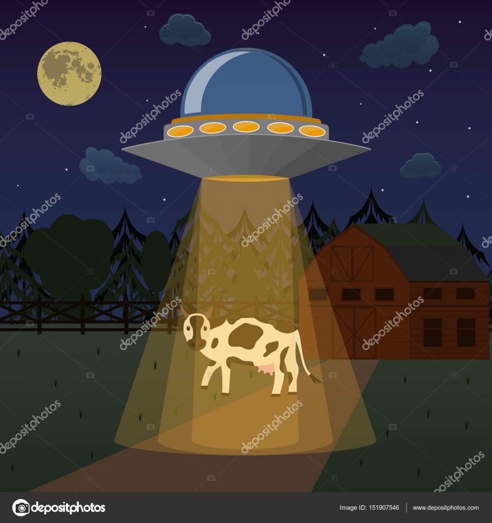 Cartone animato alieni astronave o ufo prende mucca