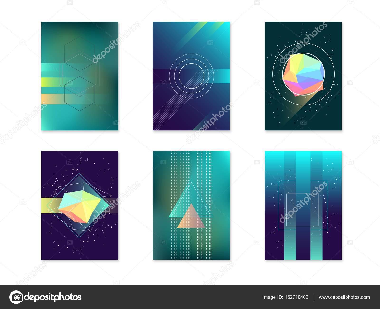 Bruja de carteles tarjeta abstracta geométrica fondos el conjunto de ...