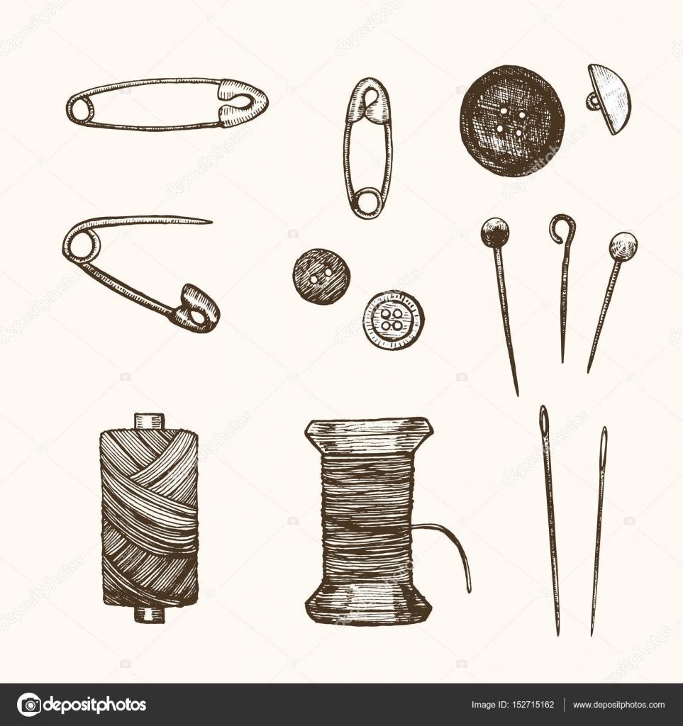 Costura Set mano dibujar boceto. Vector de — Archivo Imágenes ...