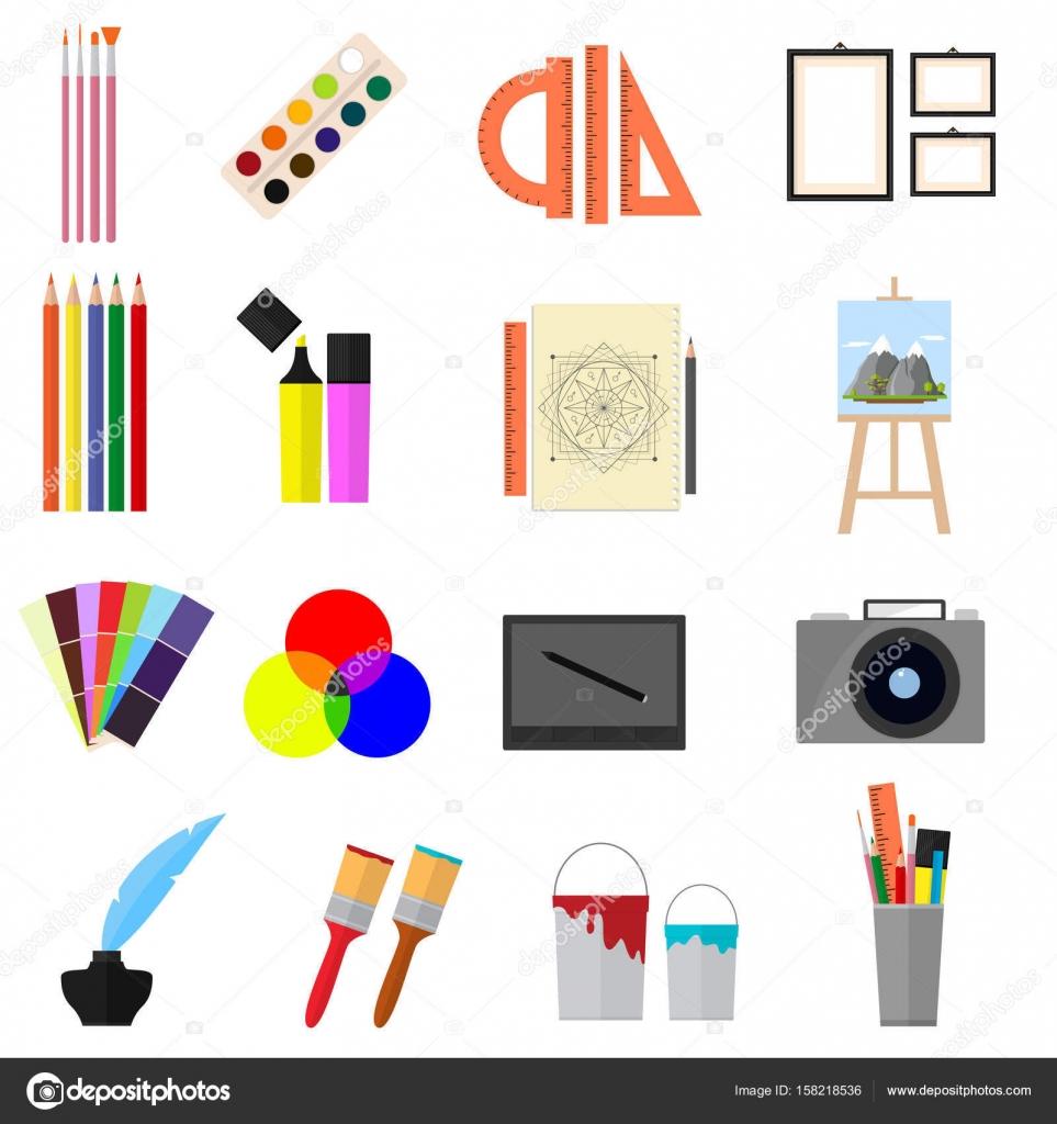 Dibujos Animados Arte De Color Los Iconos Conjunto Vector De