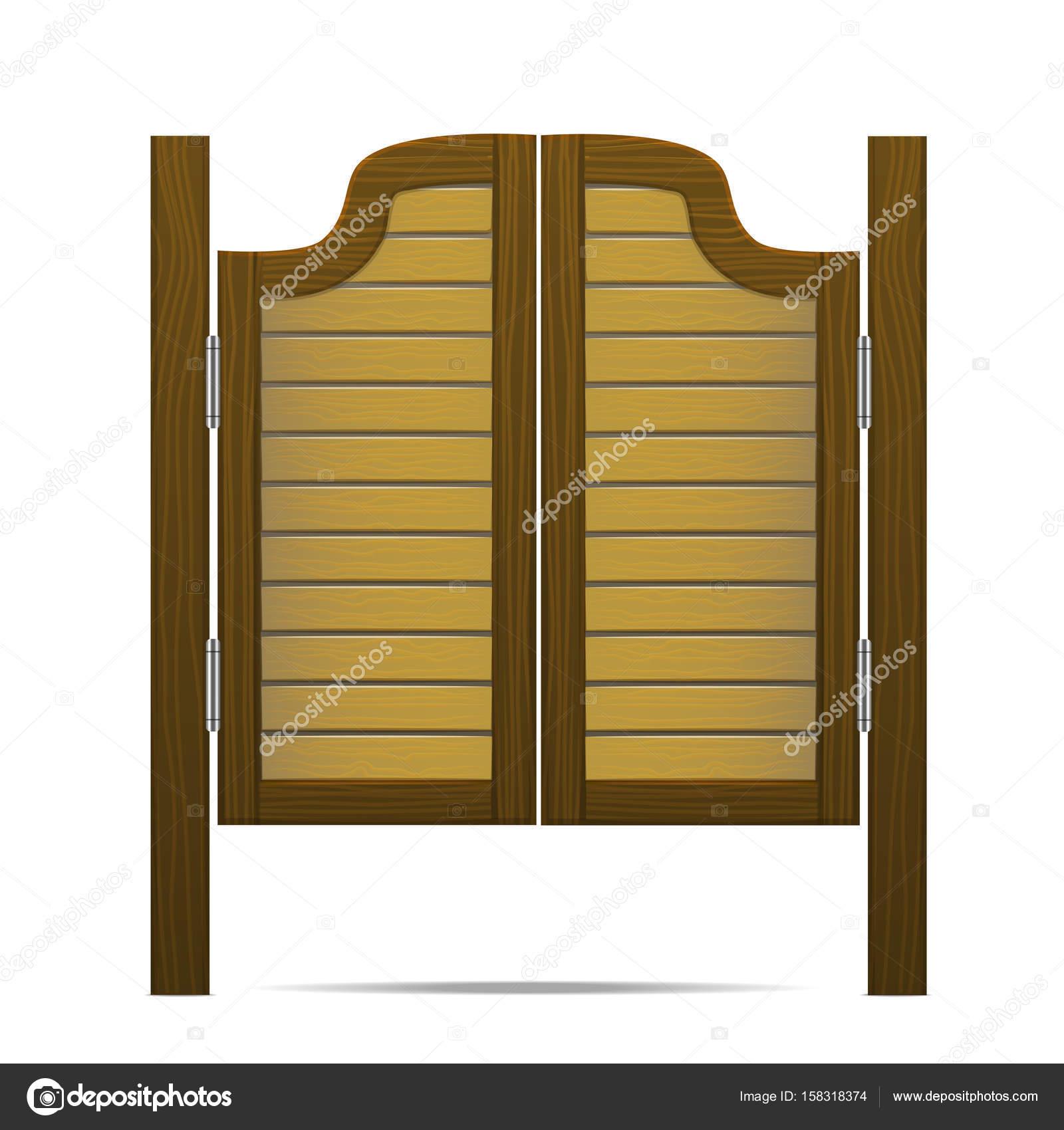 Wooden Brown Gate or Door in Saloon Bar or Pub. Vector \u2014 Stock Vector  sc 1 st  Depositphotos & Wooden Brown Gate or Door in Saloon Bar or Pub. Vector \u2014 Stock ...