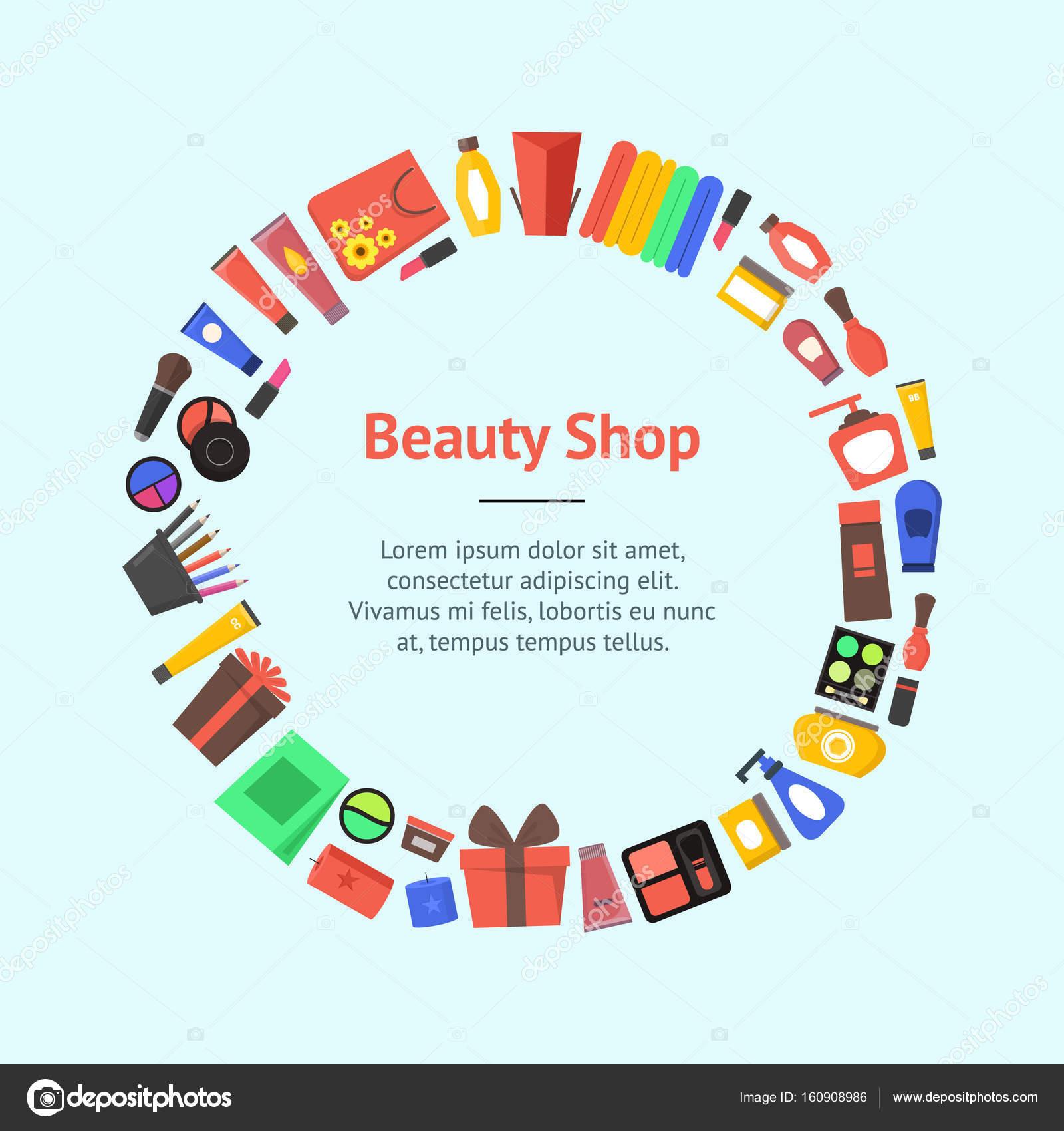 Cartoon Beauty Cosmetics Store Banner Card Circle Vector Stock Vector C Bigmouse 160908986