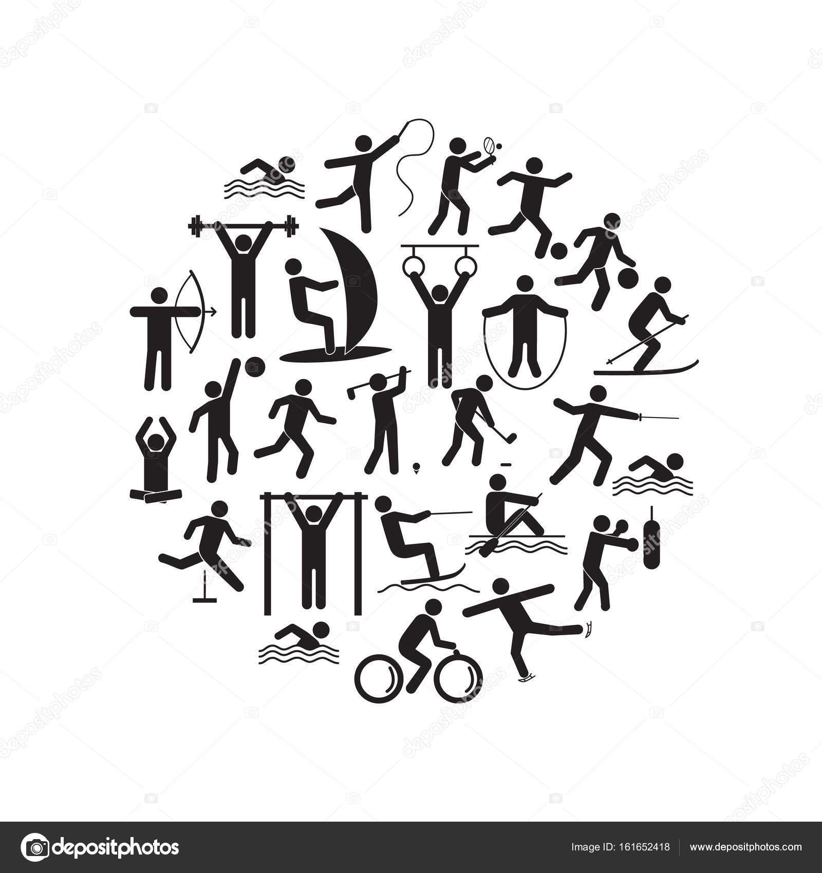 Icono de deporte jugando a gente conjunto de plantillas de diseño ...