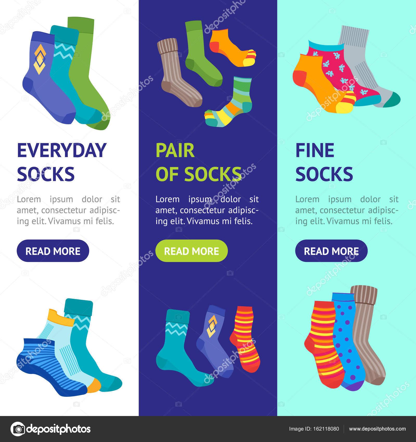 Barevné veselé ponožky Banner Vecrtical sada pro muže i ženy. Plochý Design  styl. Vektorové ilustrace — Vektor od ... 9e6a50544f