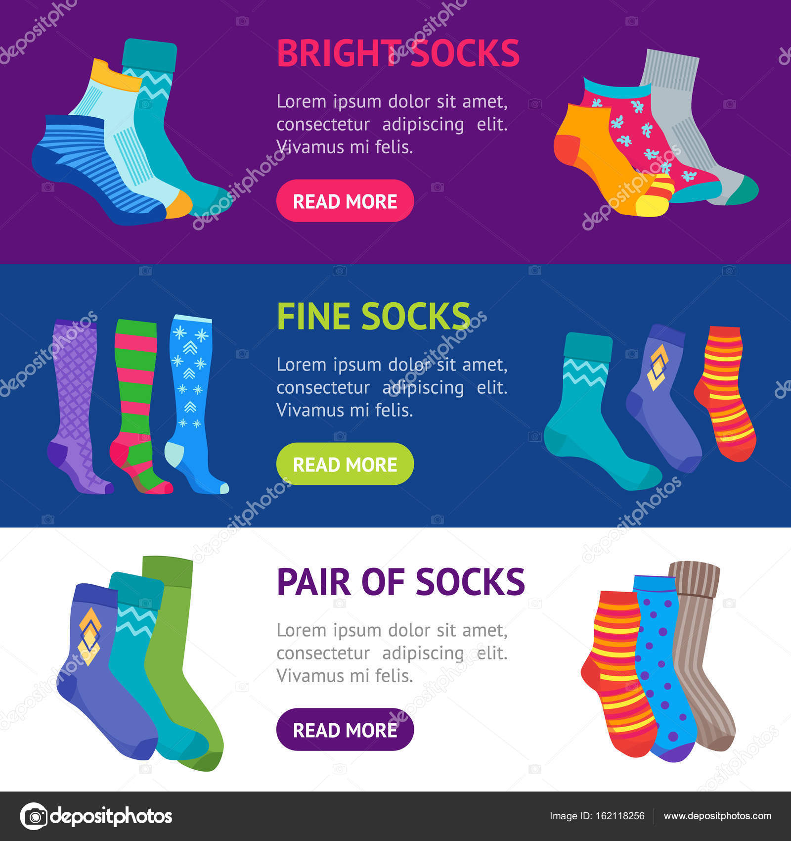 4163f8784a8df Colorful Fun Socks Banner Horizontal Set. Vector — Stock Vector ...