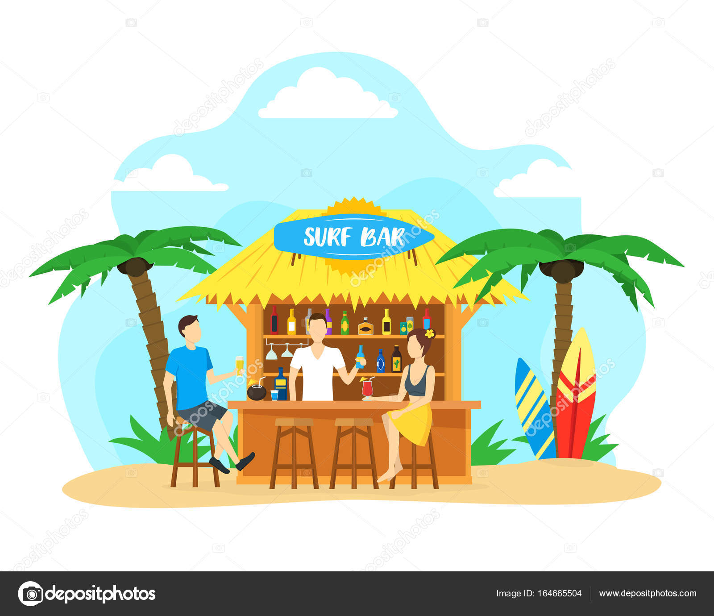 Dessin Animé Surf Bar De La Plage Vacances Voyage Concept