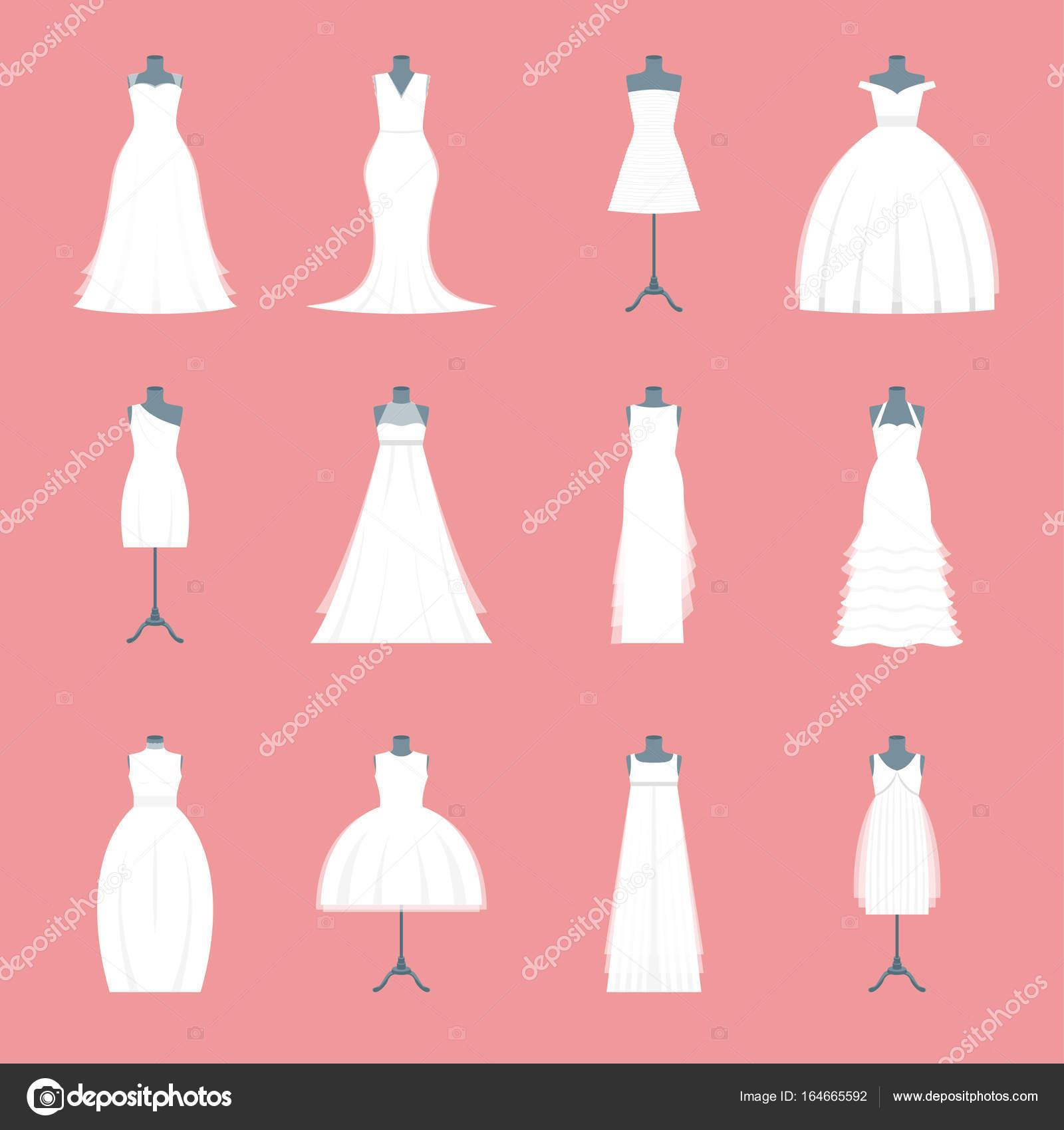 Juego de vestidos de novia en maniquí. Vector de — Vector de stock ...