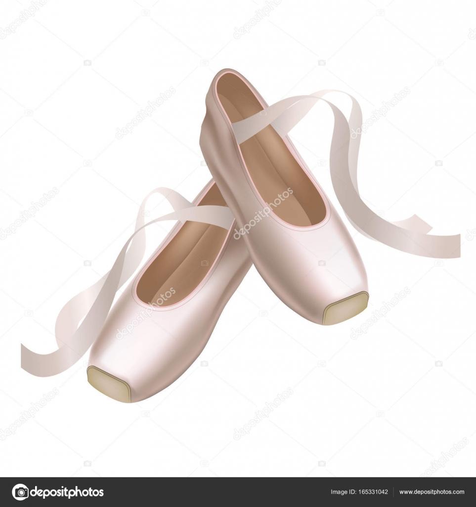 Realistica dettagliata danza scarpe da punta moda coppia su uno sfondo  bianco per la danza. Illustrazione vettoriale della tradizionale scarpe  Ballerina ... 633010c7609b
