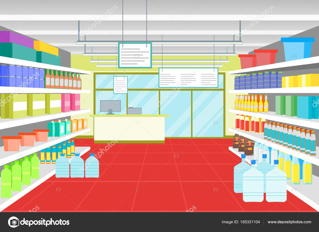 Interno negozio o supermercato con mobili del fumetto for Piani di costruzione del negozio con alloggi
