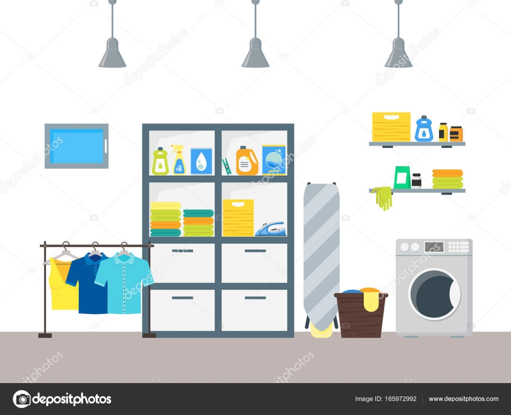 Cartoon Interior Laundry Room With Furniture Washing Machine And Basket  Housework Concept Flat Design Style. Vector Illustration Of Laundromat  Service ...