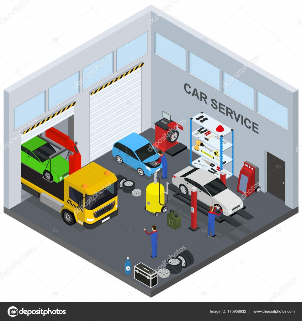 auto service intrieur avec des meubles et quipements vue isomtrique diagnostic rparation transport illustration vectorielle de garage automobile et