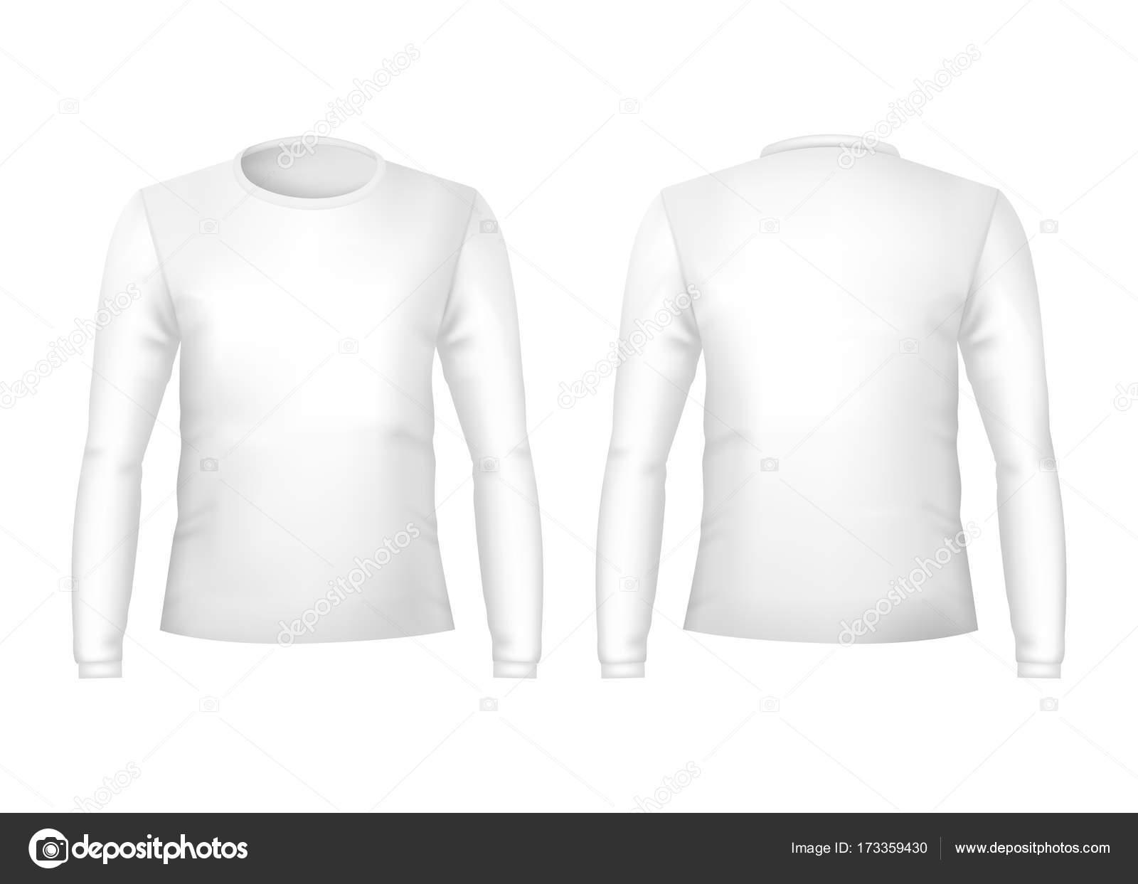 Realistische detaillierte 3d Vorlage leere weiße T-shirts Vorder ...
