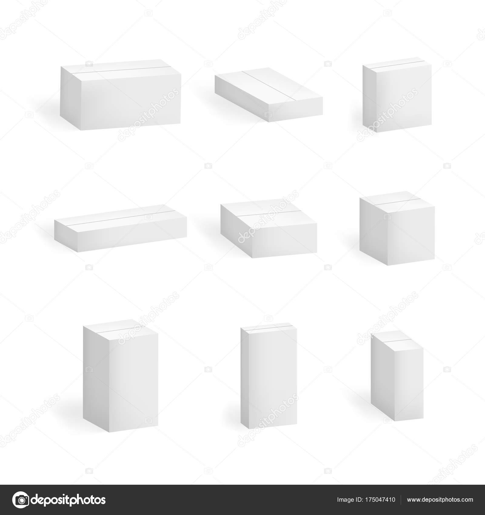 Realista 3d detallada Set de cajas de cartón blancas en blanco ...