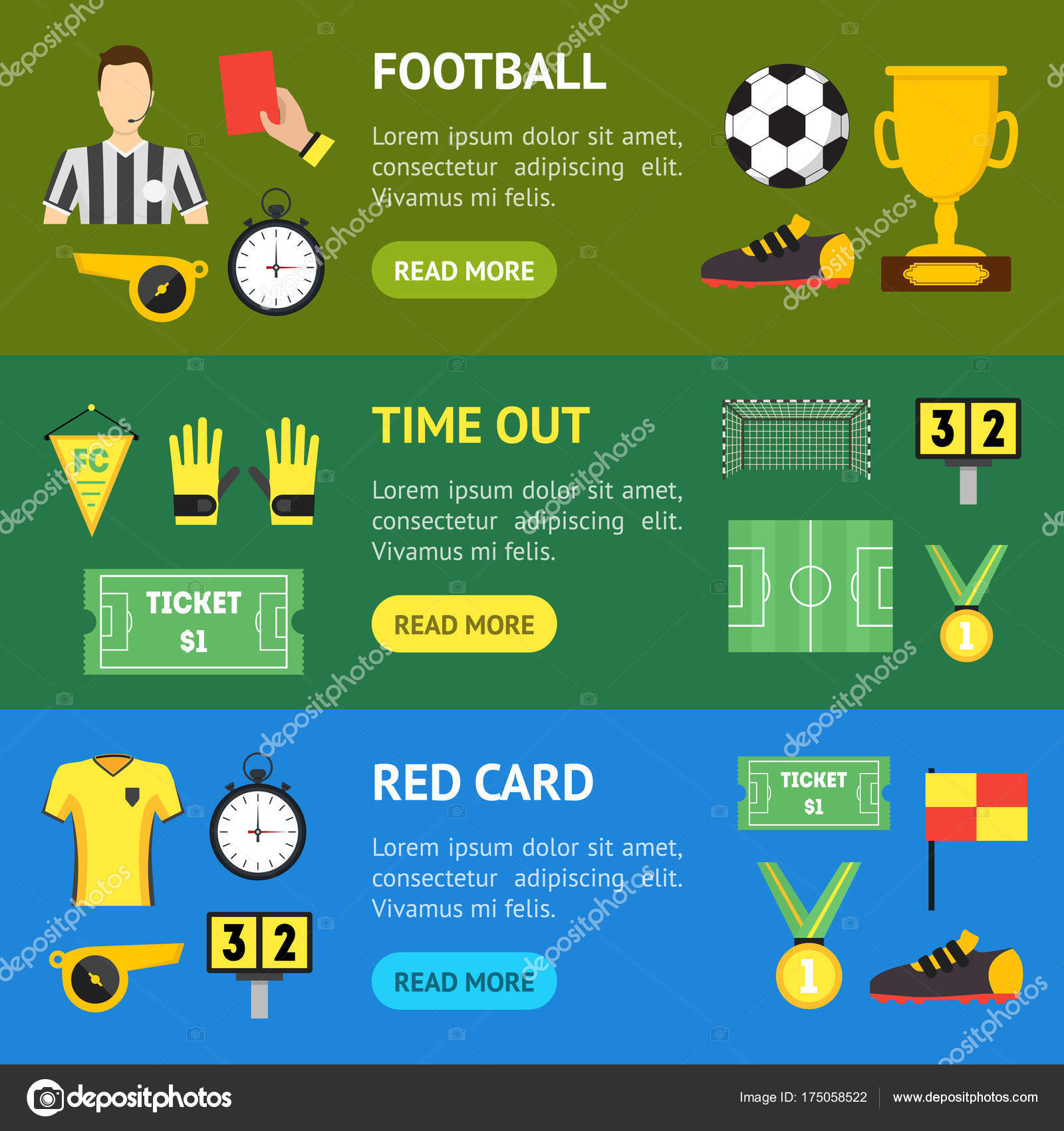 ce2b8b753 Futebol esporte jogo Banner Horizontal conjunto futebol profissional  equipamentos e elementos de desenhos animados. Ilustração vetorial — Vetor  de ...