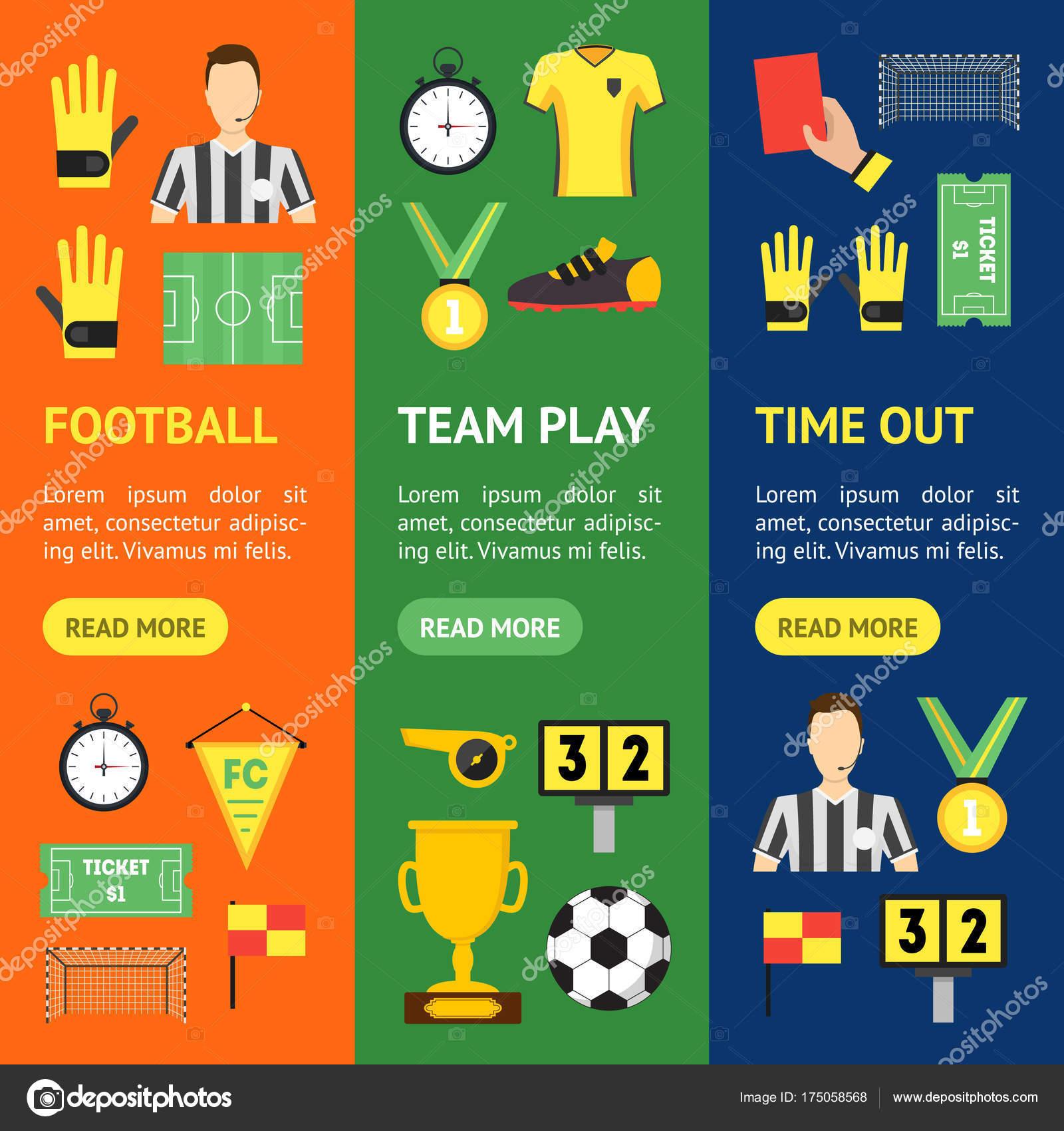 fe591c01f Desenhos animados futebol esporte jogo Banner Vecrtical Set. Vector —  Vetores de Stock