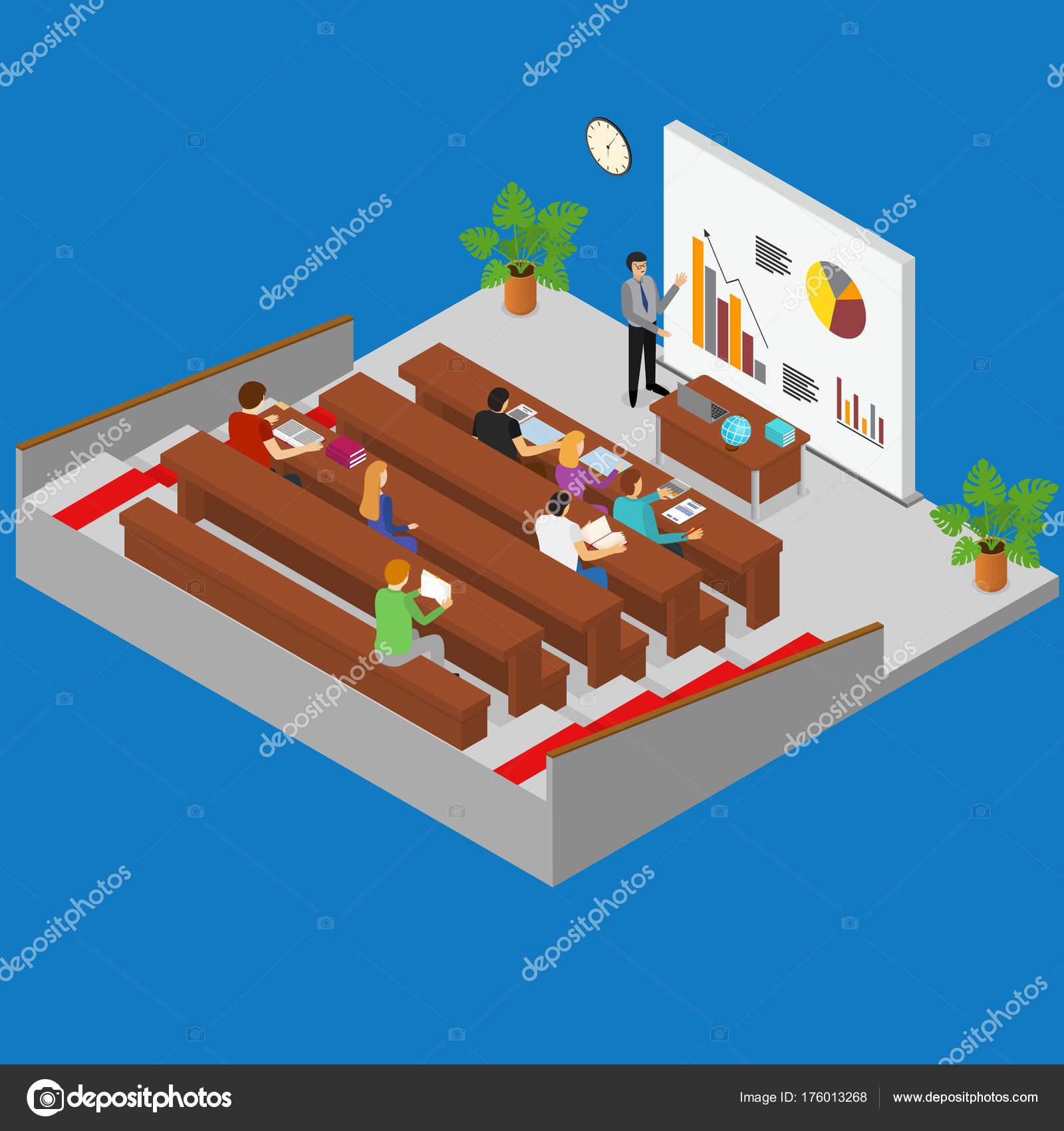 Salón Interior con vista isométrica muebles y estudiantes. Vector de ...