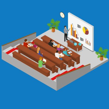 Classroom Interior with Furniture and Students Isometric View. Vector