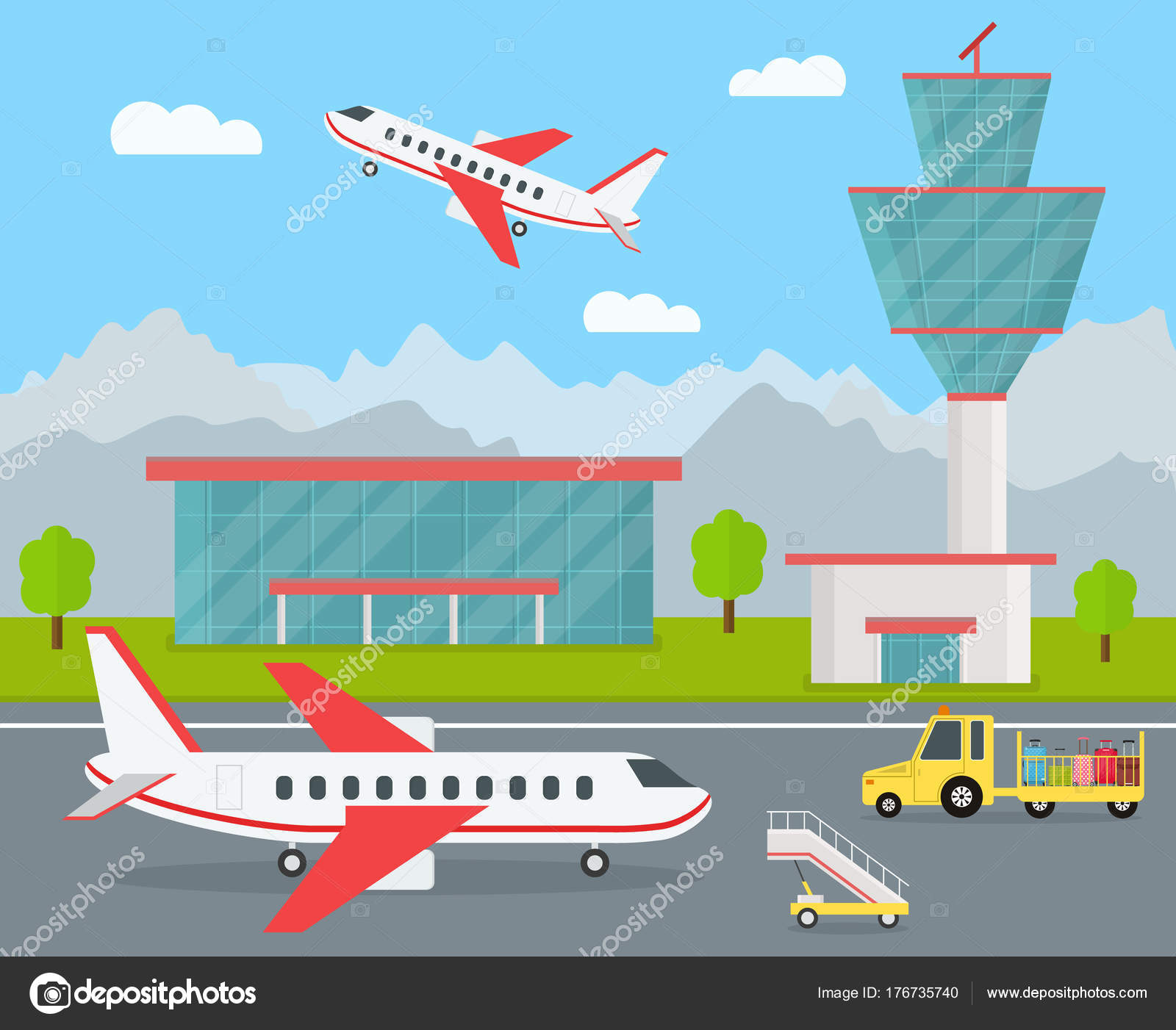 cartoon airport building and airplanes vector � stock