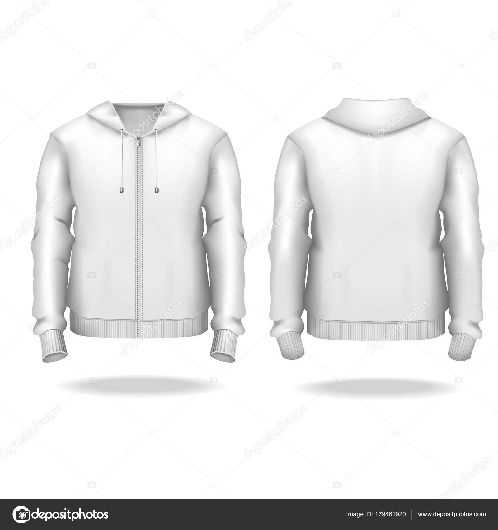 Realistische detaillierte 3d Vorlage leer weißen männlichen Zip Up ...