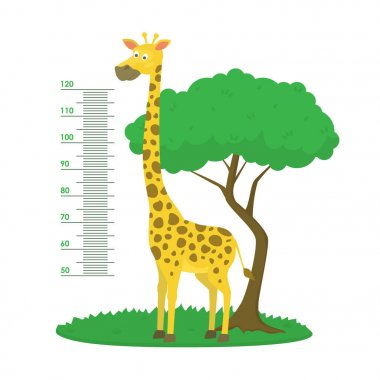 Cartoon Meter Wall with Giraffe and Tree Green Card Poster Height Sticker Concept Flat Design Style. Vector illustration clip art vector
