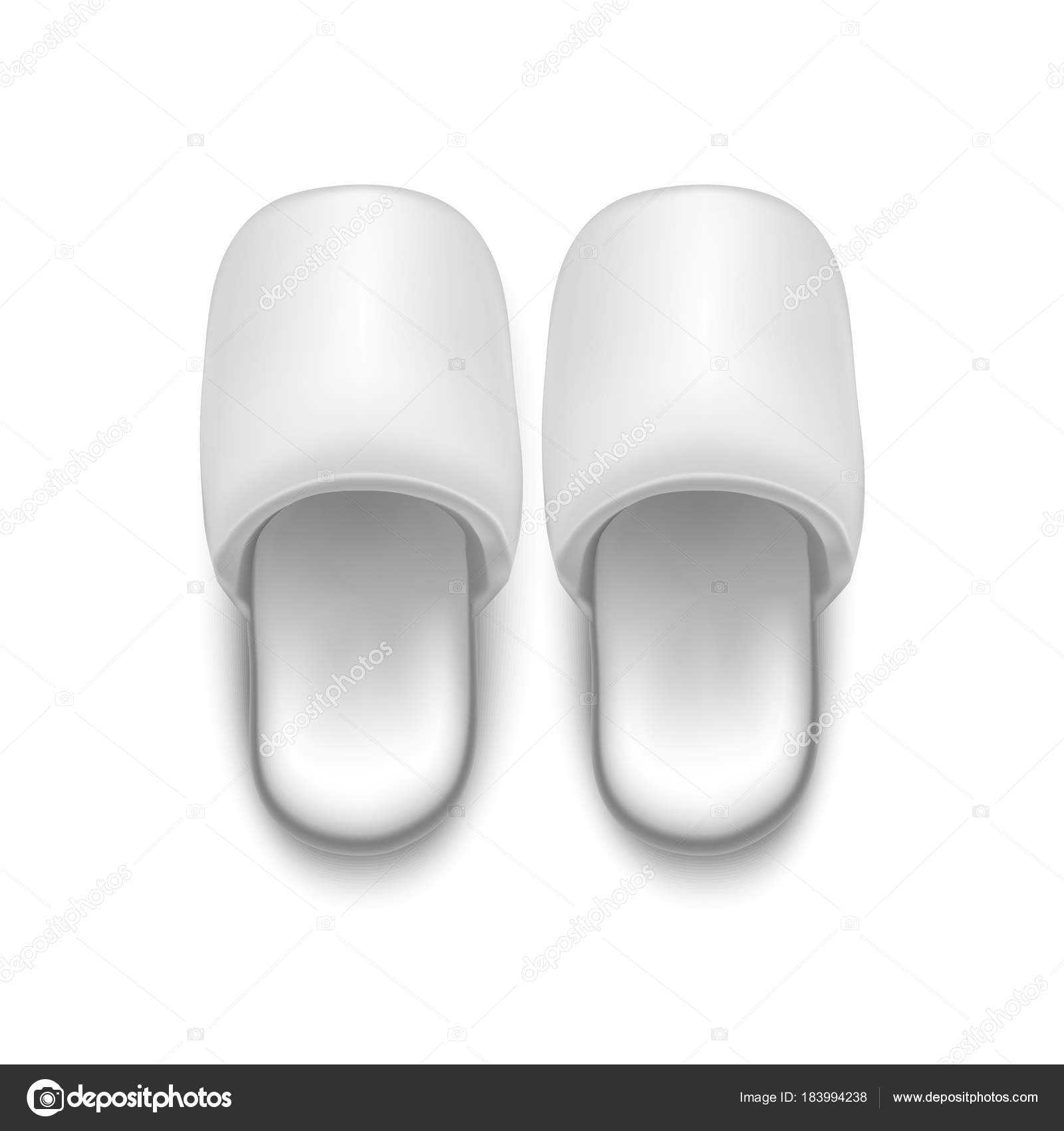 bb6e6319bf4b8 Realistic Detailed 3d Template Blank White Home Slippers Mock Up ...