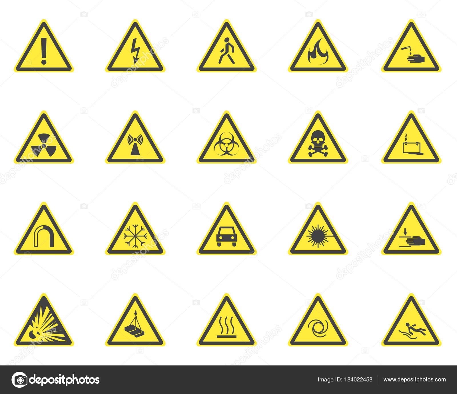 Gelbe Warnschilder Gefährdung festgelegt. Vektor — Stockvektor ...