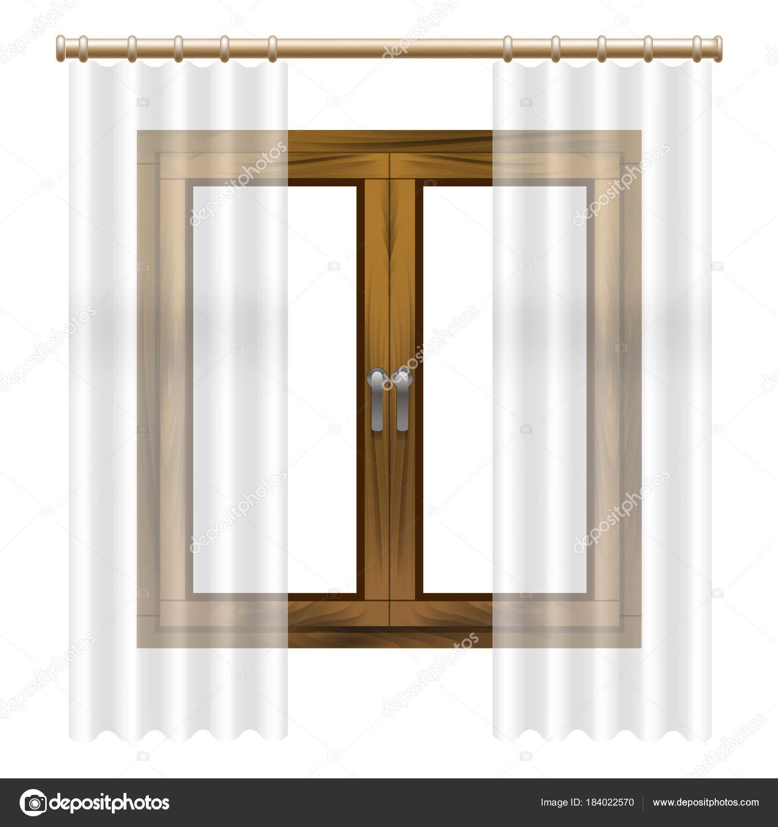 Realista detallada 3d madera marco de la ventana. Vector de ...