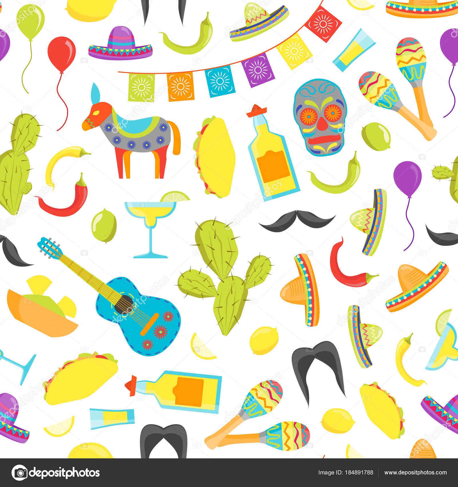 Cartoon Symbol Of Mexico Seamless Pattern Background Vector
