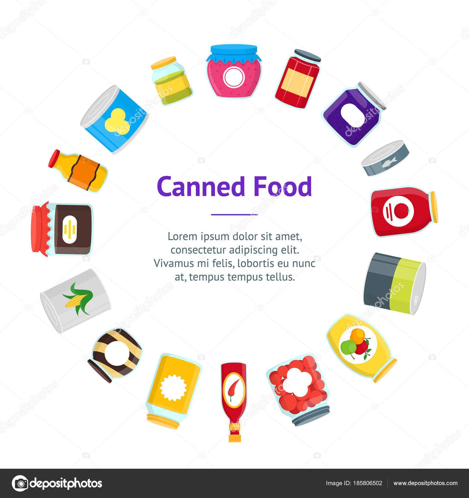Dibujos animados conservas y alimentos Banner tarjeta círculo del ...